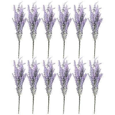 Lavender Artificial Flowers, Farmhouse Decor (12 Bundles)