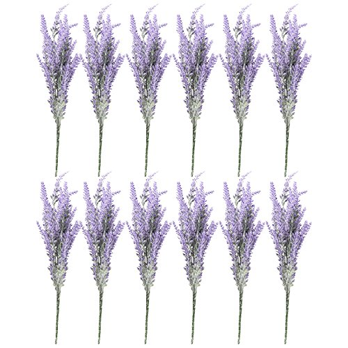 Lavender Artificial Flowers, Farmhouse Decor (12 Bundles)