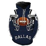FEZD Rugby Hoodie 3D Hommes Casque Dallas Cowboy Équipe De Rugby Motif Uniforme Couple Sweat À Capuche Impression Numérique,M