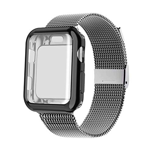 YC YANCH Compatible with Apple Watch Band 38mm with Case, Stainless Steel Mesh Loop Band with Apple Watch Screen Protector Compatible with iWatch Apple Watch Series 1/2/3/4/5 (38mm Space Grey)