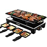 CUSIMAX Raclette Grill Electric Grill Table, Portable 2 in 1 Korean BBQ Grill Indoor & Cheese...