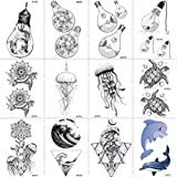 12 Pieces/Lot Creative Bulb Water Transfer Tattoos Temporary Stickers Fun Kids Cartoon Hands Fake Arm Tattoos Jellyfish Women Tortoise Tatoos Turtle Black Henna Body Art 10x6cm