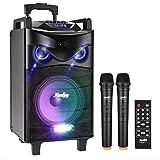 Altavoces de Karaoke Moukey Bluetooth Sistema de Karaoke Potencia pico 200 W Portátil PA Sistema con luces de DJ Micrófono VHF mando a distancia MP3/USB/TF/FM radio para la fiesta de Navidad 12″