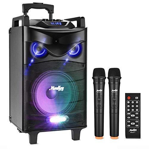 Altavoces de Karaoke Moukey Bluetooth Sistema de Karaoke Potencia pico 200 W Portátil PA Sistema con luces de DJ Micrófono VHF mando a distancia MP3/USB/TF/FM radio para la fiesta de Navidad 12#