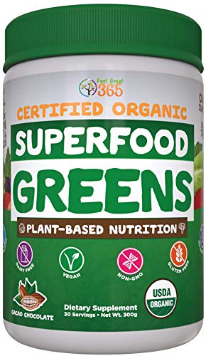 Superfood Vital Greens Powder, USDA Organic by Feel Great 365 | Cacao Chocolate, Whole30 Friendly, and Vegan | Plant Based, 100% Non-GMO with Real Green Vegetables
