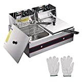 WeChef 24L Electric Commercial Stainless Steel Deep Fryer Countertop Dual Tank Basket Restaurant Kitchen Equipment