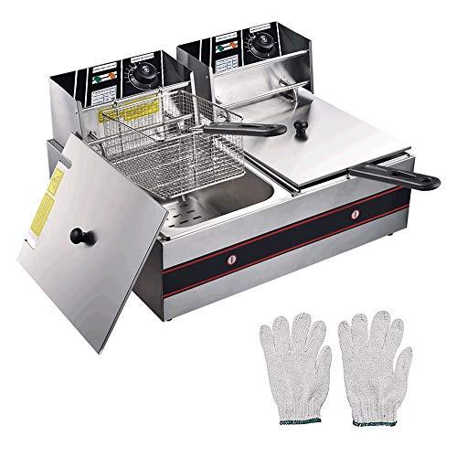 WeChef 24L 5000W Stainless Steel Electric Deep Fryer Countertop Dual Tank Basket Commercial Restaurant Kitchen