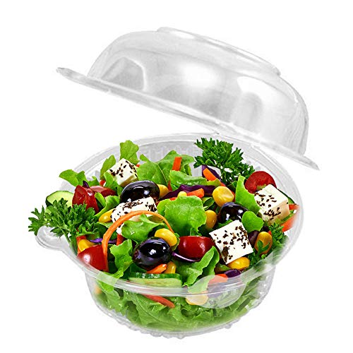 50 Plastic Single Individual Cupcake Containers, Clear Dome Box for Sandwich fruit Salad Favor Cake Holder Muffin Case Cups Pod - Thanksgiving Halloween Christmas New Year Party Supplies(Pack of 50)