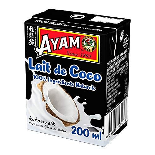 AYAM Lait de Coco | 100% Ingrédients Naturels | Goût Authentique | Noix de coco Fraîches | Haute Qualité | Alimentation Saine | Lait Végétal | Sans Lactose | Sans Gluten - 200ml