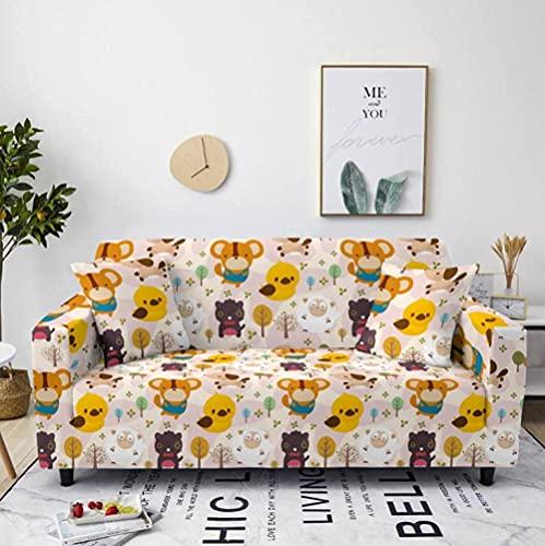 HMHMVM Funda para sofá de dibujos animados marrón becerro elástico sofá sofá funda funda antideslizante funda universal protector de muebles 2 fundas de almohada