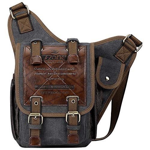 S-ZONE Mens Vintage Canvas PU Leather Military Utility Shoulder Messenger Bags, S, Dark Grey
