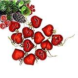 LIOOBO 12 Piezas Bolas de Navidad Adornos en Forma de Corazón Colgantes Inastillables para Decoraciones Navideñas para Bolas de árbol de Navidad (Rojo)