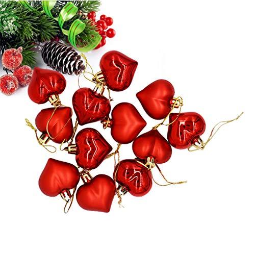 LIOOBO 12 Piezas Bolas de Navidad Adornos en Forma de corazón Colgantes Decoraciones Festivas inastillables para Decoraciones navideñas para Bolas de árbol de Navidad (Rojo)