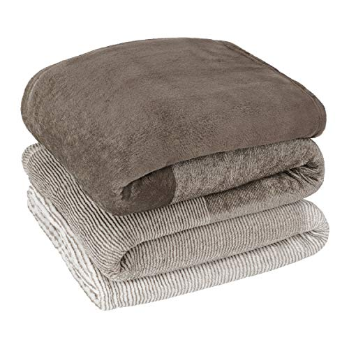 PAVILIA Flannel Fleece Ombre Throw Blanket for Couch | Super Soft Cozy Microfiber Sofa Blanket | Gradient Decorative Accent Throw, Twin Size Blanket | All Season, 60x80 Inches Tan Taupe