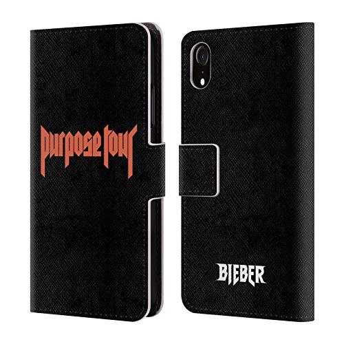 Head Case Designs Licenciado Oficialmente Justin Bieber Logotipo Tour Merchandising Carcasa de Cuero Tipo Libro Compatible con Apple iPhone XR
