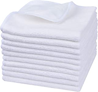 Sinland Microfiber Facial Cloths Fast Drying Washcloth 12inch x 12inch White 10 pack