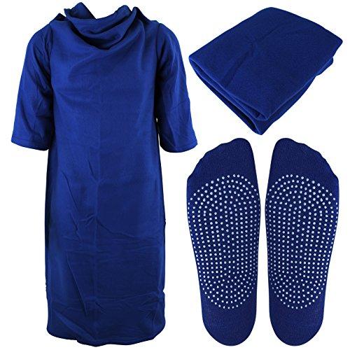 TV Decke - Kuscheldecke für Kinder mit Ärmel und Slipper mit Farbauswahl (blau)