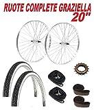 COPPIA RUOTE bicicletta GRAZIELLA 20' + PIGNONE 16 Denti + COPERTONI + CAMERE + FLAP COPRI RAGGI