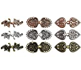 VIEEL 9 Pair Swirl Flower Cape Cloak Clasp Fasteners Sew On Hooks Eyes Cardigan Clip for Clothing Coat Jacket Pants, Gold&Silver&Copper
