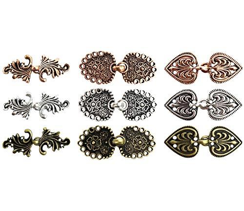 CAREOR 9 Paar Wirbel-Blumen-Umhang-Verschlüsse zum Aufnähen, Haken für Strickjacken, Kleidung, Mäntel, Jacken, Hosen, Gold & Silber & Kupfer