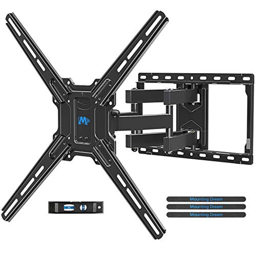 Mounting Dream Full Motion TV Wall Mount for 42-75 Inch Flat Screen Curved TVs, Heavy Duty Wall Mount TV Bracket with Swivel Articulating Dual Arms, VESA 600x400mm, 100 lbs MD2656