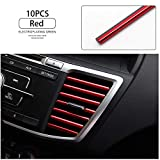 LEIWOOR 10 Pcs Car Interior Moulding Trim Car Air Conditioning Air Outlet Colorful Film Car Interior Exterior Decoration Seal Strip Strip Line (Red)