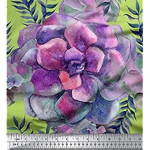 Soimoi Verde Georgette poli Tela hojas y la begonia floral tela estampada de por metro 42 Pulgadas de ancho
