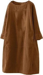 Vestidos Mujer Invierno,Moda Vestido Informal Suelto De Manga Larga De Pana De Bolsillo De Color SóLido para Mujer