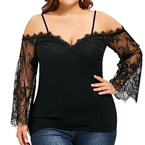 ❤️Grosses Soldes ! ❤️LMMVP ❤️ Femmes Épaule T-Shirt Dentelle Manche Longue Hauts Décontractés Chemisier Grande Taille (5XL, Noir)