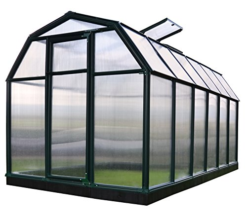RION Gewächshaus Gartenhaus Kunststoff SMART 36 // 387x204x198 cm (LxBxH) // Treibhaus & Tomatenhaus zur Aufzucht + Fundament