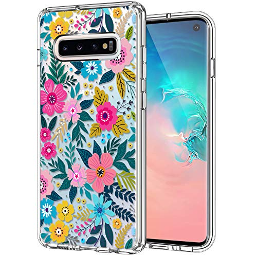 ICEDIO Galaxy S10 Case Clear with Cute Colorful Blooming Floral Flower Patterns for Girls Women,Shockproof Slim Fit TPU Bumper Cover Protective Phone Case for Samsung Galaxy S10