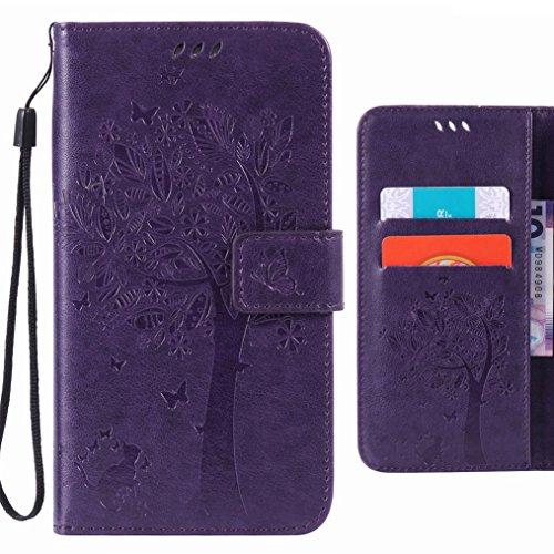Ougger Handyhülle fürSony Xperia M5 Hülle Tasche, Baum Katze Druck BriefHülle Tasche Schale Schutzhülle Leder Weich Magnetisch Stehen Silikon Cover mit Kartenslot (Lila)