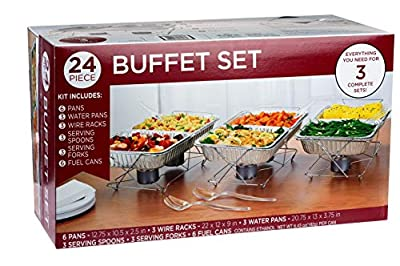 24 Piece Party Serving Kit Includes Chafing Kits and Serving Utensils For All Types Of Parties And Events | Disposable Party Set