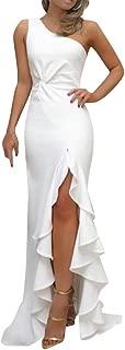 Women's Ruffle One Shoulder Split Maxi Dresses Ruched Ruffle Mermaid Evening Cocktail Long Dress Zulmuliu