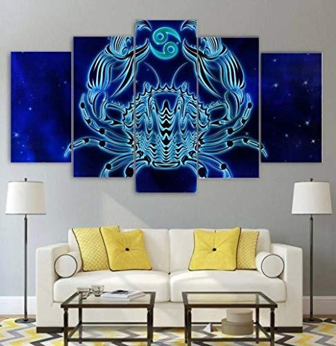 KOPASD Wall Art - Cáncer Zodiaco 5 Piezas Enmarcado Salon,Dormitorio,Baño,Comedor para la decoración Moderna del hogar(Enmarcado Tamaño 200x100cm)