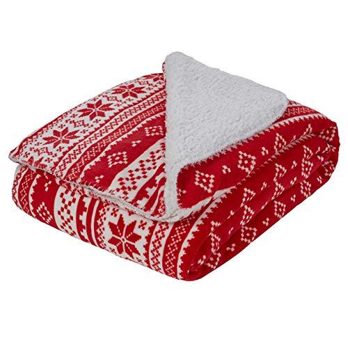 Dreamscene Sherpa Flannel Fleece Blanket Faux Fur Twin Full Throw Over - Nordic Red White, 59' x 70'
