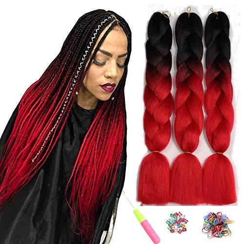 Ombre Jumbo Zöpfe Haar Flechten Haar Kanekalon, ShowJarlly Synthetische Haarverlängerungen 24 Zoll (60 cm) 300g / 3Pcs, 2 Ton Schwarz/Rot