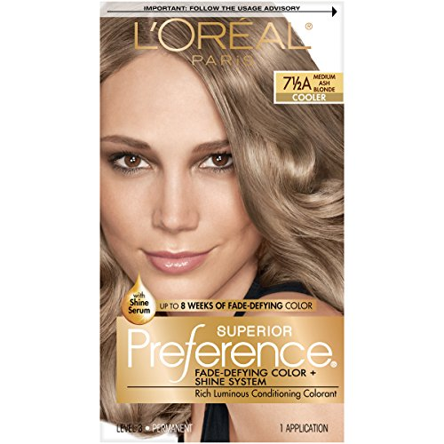 L'Oreal Paris Superior Preference Fade-Defying + Shine Permanent Hair Color, 7.5A Medium Ash Blonde, Pack of 1, Hair Dye