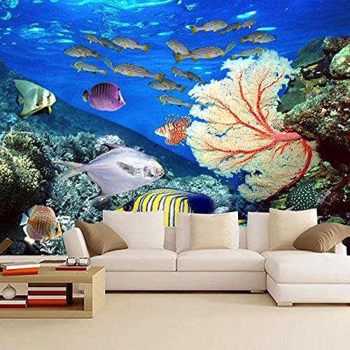 RTYUIHN 3D Wallpaper Mural Underwater World Marine Life Coral deep sea Fish Theme Aquarium Bedroom Living Room Modern Wall Art Decoration
