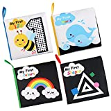 BelleStyle Libros para Bebes, Libros de Tela en Blanco y Negro, Libros de Tela Suave para bebés con Forma, Color, Número Educación Temprana Juguete Regalo para bebés(4 packs)