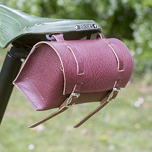 London Craftwork Bolsa de herramientas para bicicleta de cuero genuino Vintage Retro Bicicleta en caja de cereza-cereza