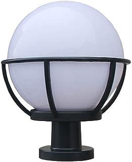 LMDH Farol Exterior de una luz, policarbonato con Acabado Negro y Globo acrílico Blanco (Size : M)