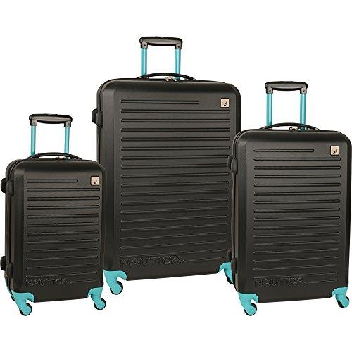 Nautica 3 Piece Hardside 4-Wheeled Luggage Set, Black/Baltic