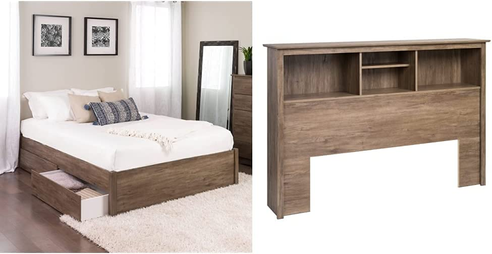 Queen Baltimore Mall Select 4-Post Platform Bed Gray with Drifted 2 35% OFF Drawers
