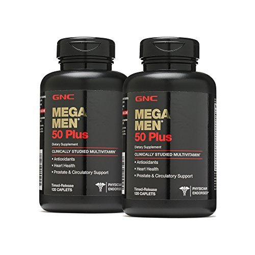 GNC Mega Men 50 Plus, Twin Pack, 120 Caplets per Bottle, Multivitamin to Support Overall Well-Being