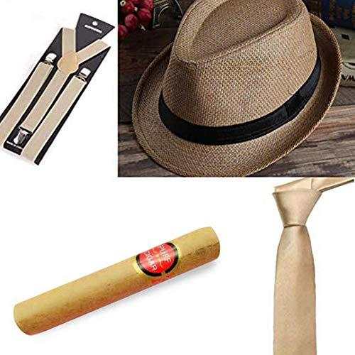 Al Capone Mafia Gangster gorra + lazo + tirantes + cigarro - 20s Disfraz para mujer y hombre - Perfecto para el Carnaval (Marrón Claro)