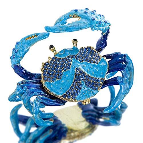 SMEJS Cangrejo Pintado a Mano Bejeweled Tinket Box Bisagrado Anillo Decorativo Titular de Anillo Estatuilla Caja de Estatuilla Almacenamiento de Joyería Decoración de la Boda