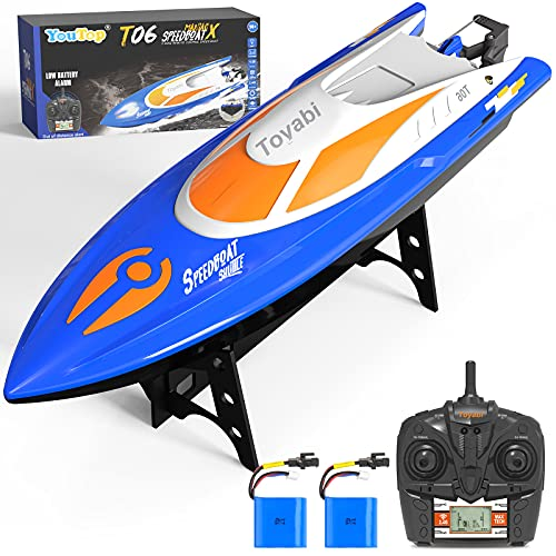 Remote Control Boat [Upgraded 2021] - Youtop 2.4 GHZ 25+ MPH RC Boat with LED Lights, Fast Remote Control Boat for Pools and Lakes, RC Boats for Adults and Kids with 2 Rechargeable Batteries