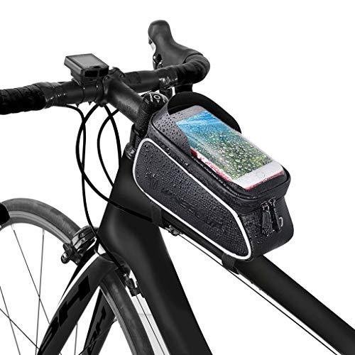 FSJD Bolsa para Cuadro de Bicicleta, Impermeable Soporte para teléfono Tubo Superior Manillar, con Visera para Pantalla táctil, para teléfono de Menos de 6.5 Pulgadas, Negro, 21 cm × 13 cm × 9 cm