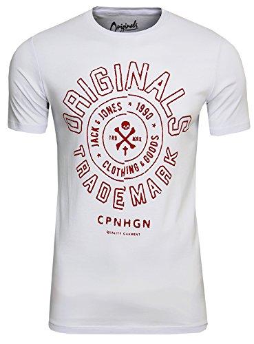 JACK & JONES Camiseta para hombre JORTraffic Tee SS Crew Neck Logo Print Blanco (White Bos – Slim Fit). XL